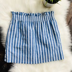 J. CREW Linen Blend Blue Striped Paperbag Skirt 0